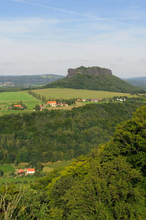 saxon: Table mountain Lilienstein in the Elbe Sandstone Mountains, Saxon Switzerland. Stock Photo