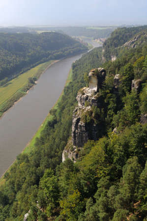 saxony: View from  Bastei areal , in the Saxony Switzerland.
