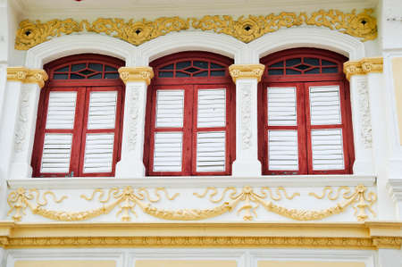 house with style: Facade from old chinese warehouse in the historic George Town, Penang, Malaysia. Stock Photo