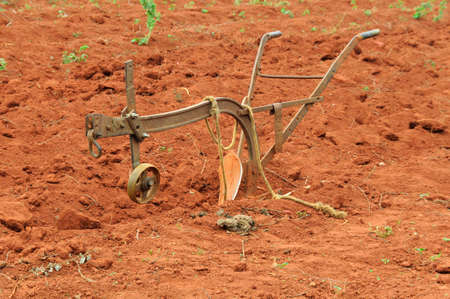 agricultural machinery: Agricultural machinery, plow of a field.