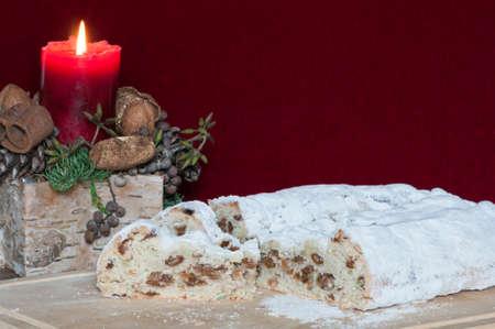 burning time: Christmas cake with Christmas decoration, German tradition of the Christmas season.