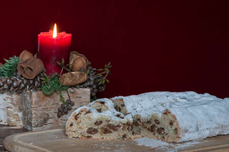 weihnachtskuchen: Christmas cake with Christmas decoration, German tradition of the Christmas season.