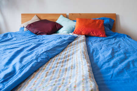 pillow case: Device, double bed with bedding, pillows and blankets.
