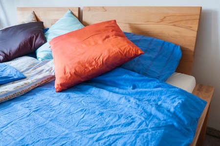 case sheet: Device, double bed with bedding, pillows and blankets.
