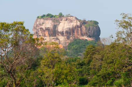 site the Sigiriya Rock Fortress on a table mountain in Sri Lanka.