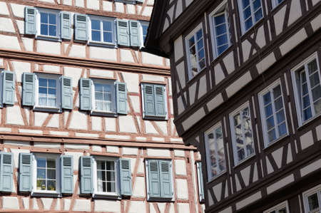 half timbered house: Medieval architecture of a Half timbered house in Europe. Stock Photo