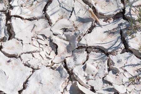 Drought, dry soil with cracks. Banco de Imagens