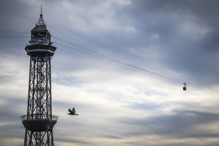 montjuic: Torre Jaume Barcelona, funicular with two cableway cars and airplain