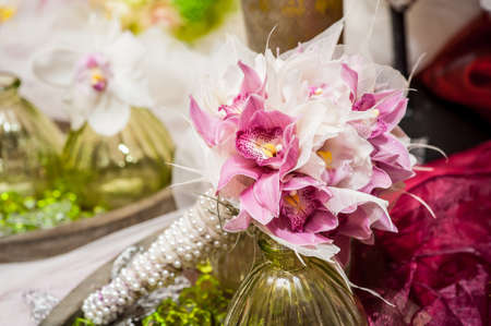 wedding bouquet pink and white flowers Stock Photo