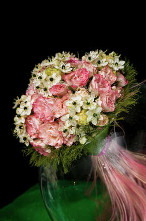 wedding bouquet in a glass vase