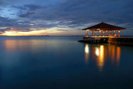 Maldivian sea and pier