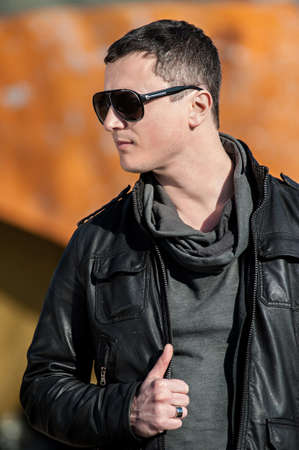 Dark male model with sunglasses.