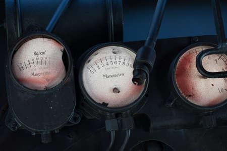 Old locomotive pressure gauges