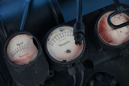 Old locomotive pressure gauges
