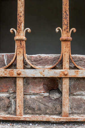 Rusty iron fence Stock Photo