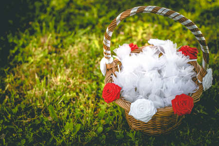 Decorated wedding basket with candy confetti Stock Photo
