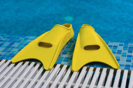 flippers: Aletas amarillas a costa de piscina