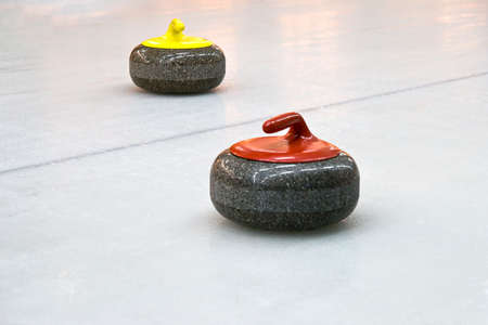 sportsmanship: Granite stones for curling game on the ice