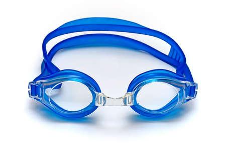blauwe glazen voor swim op witte achtergrond (horizon) Stockfoto