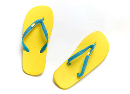 footware: sandals slippers on the white background  (isolated with clipping path) with shadow