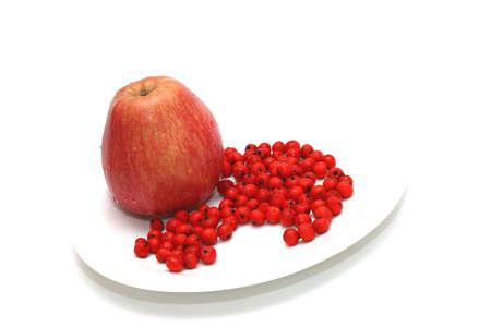 ashberry: Apple with ashberry on plate white background