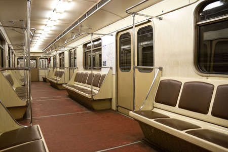 Inside of empty subway car (train) in Moscow metro