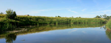 Summer Panoramic Landscape - River, Sky, Coast, Grass Stock Photo - 7008847