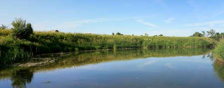 Summer Panoramic Landscape - River, Sky, Coast, Grass Stock Photo - 7008847