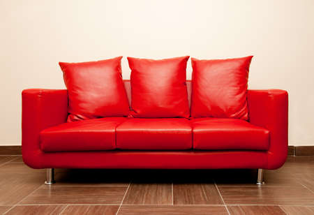 Red leather sofa with pillow Stock Photo - 7266422