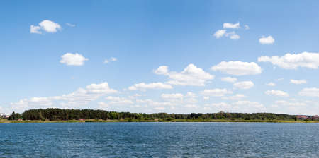 Panoramic landscape.  Clouds over Lake photo