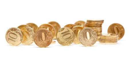 Heap of Gold Coins. Coins of ten roubles photo