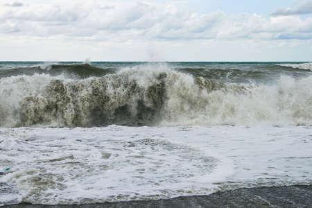 Storm on the sea. Wave run on coast Stock Photo