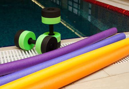 Aqua Aerobics Dumbbells. Water Aerobics. Archivio Fotografico