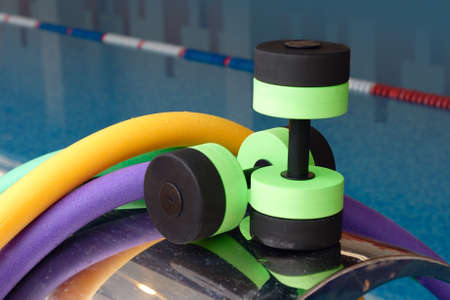 aerobic training: Aqua Aerobics equipment, Dumbbells noodles. Water Aerobics.