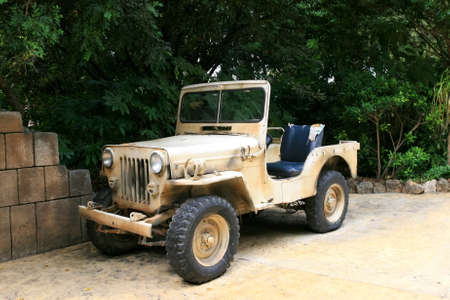 wartime: Old American  Jeep Stock Photo