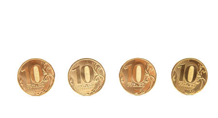 roubles: Gold Coins in a row. Coins of ten roubles
