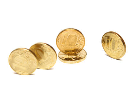 roubles: Gold Coins. Coins of ten roubles Stock Photo