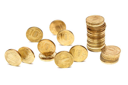 roubles: Heap of Gold Coins. Coins of ten roubles