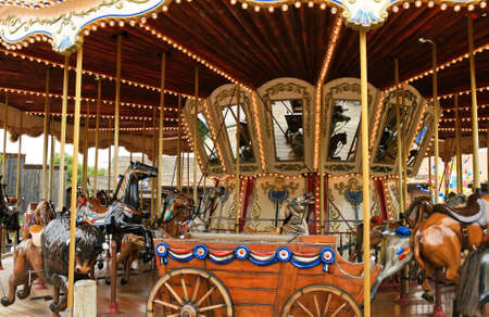 midway: Carousel with horses. Spain, park port aventura