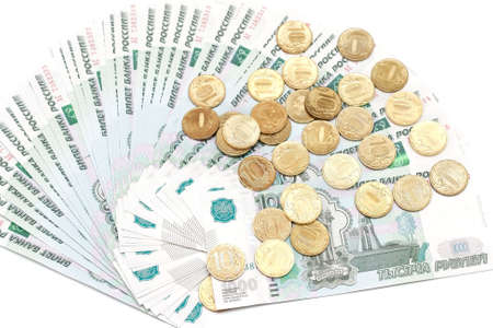 roubles: russian money in heap. banknote and coins