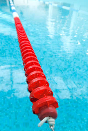 swimming pool with red lane Stock Photo