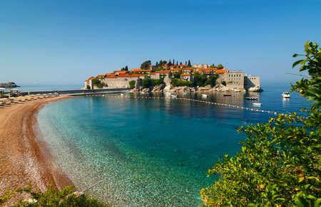 sveti: Island Sveti Stefan, beach and sea. Montenegro Stock Photo