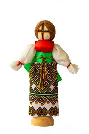 Handmade doll(motanka) in Ukrainian national costume, isolated white background