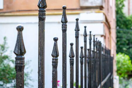 Metal fashion fence. Decorative wrought iron fence.