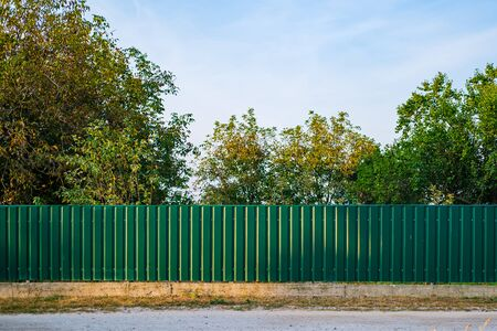 Texture of profiled metal. Metal fence. Green metallic corrugated fence.