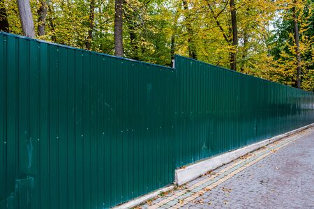 Green metallic corrugated fence against the yellow autumn forest. Texture of profiled metal. Standard-Bild