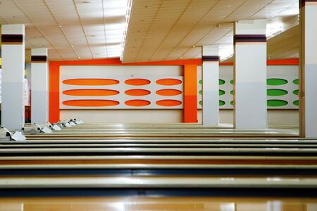 Bowling alley. many tracks in the hall.