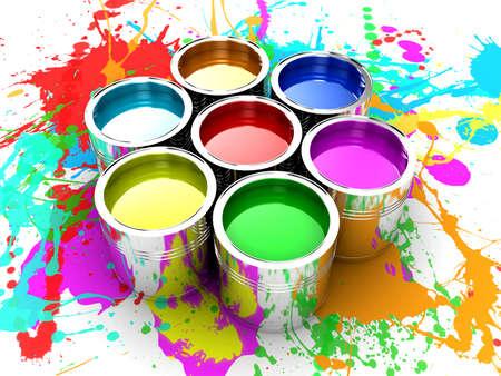 Banken met een verf verschillende kleuren zijn verzameld Stockfoto
