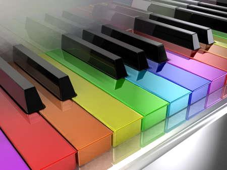 piano de cola: El piano blanco con claves de diferentes colores del arco iris Foto de archivo