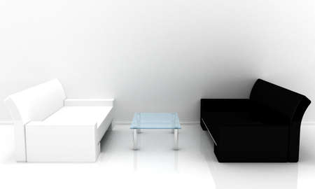 2 objects: Model of a sofas with a table in a light room